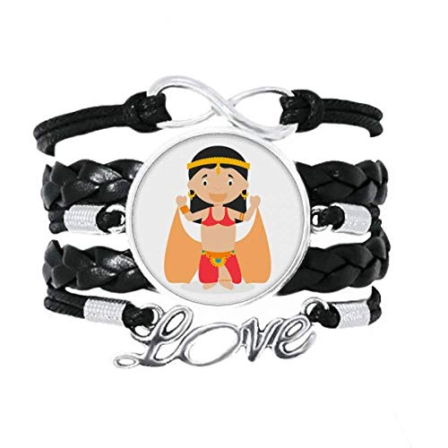 DIYthinker Traditionelle orientalische Tänzerin Cartoon-Armband, Liebesaccessoire, gedrehtes Lederband, Strickband, Geschenk