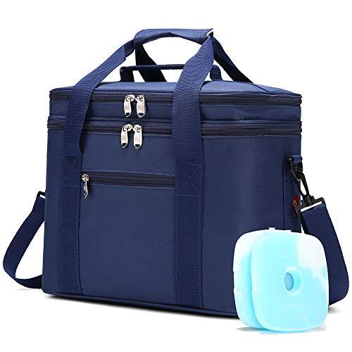 JANSBEN 18L Bolsa Térmica con 2 Paquete de Hielo Bolsa de Picnic Bolsa de Almuerzo para Picnics Fiestas Camping Playa (Azul)