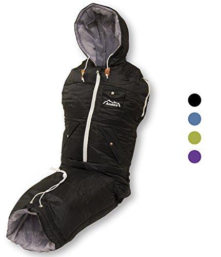 Andes Walker - Schlafsack-Jacke zum Anziehen für Camping & Festivals - klein - Schwarz