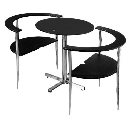 Premier Housewares Esstisch- und Stuhl-Set Love, rund mit schwarzer Tischplatte aus gehärtetem Glas und Chrom-Beinen, 75 x 80 x 94 cm, 3-teilig