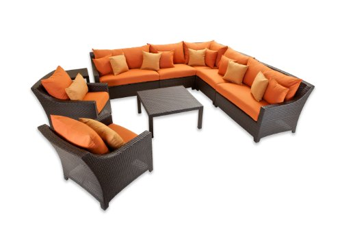 Hot Sale RST Outdoor OP-PESS9-TKA-K Tikka 9-Piece Corner Sectional Sofa and Club Chairs Set