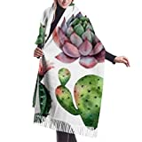 Tengyuntong Bufanda de mantón Mujer Chales para, Classic Cashmere Feel Unisex Winter Scarf, Watercolor Set Cacti Succulent Plants Isolated Long Large Warm Scarves Wrap Shawl Stole