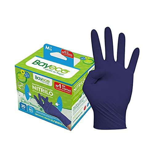 Bayeco – Gants à usage unique – Nitrile – Bleu foncé – Ambidextres – Doigts texturés pour une meilleure prise en main – Convient pour les personnes allergiques au latex – Lot de 30 – Taille M