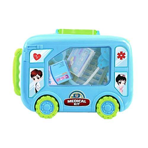 Topchances Kit de médicos para niños de enfermera con bolsa médica para médicos, juego de rol, kit de médicos con herramienta de dentista, disfraces de vestir para niños (30/40 piezas) (30, azul)