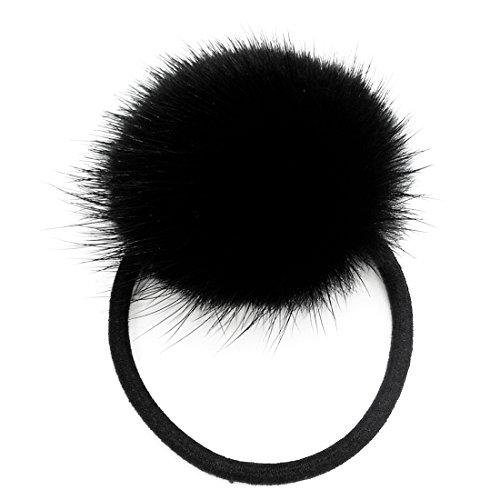 ERaBLe Women Fur Ball Hair Rope Elastic, 2 pair (Black)