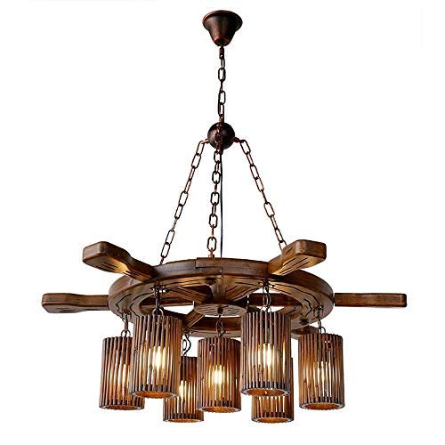 CSQ Rudder Chandelier, Vintage Solid Wood Restaurant