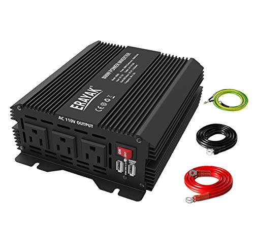 800W Power Inverter DC 12V to 110V AC Converter with Dual USB Ports for Car Truck 1600 Watts Peak Featuring