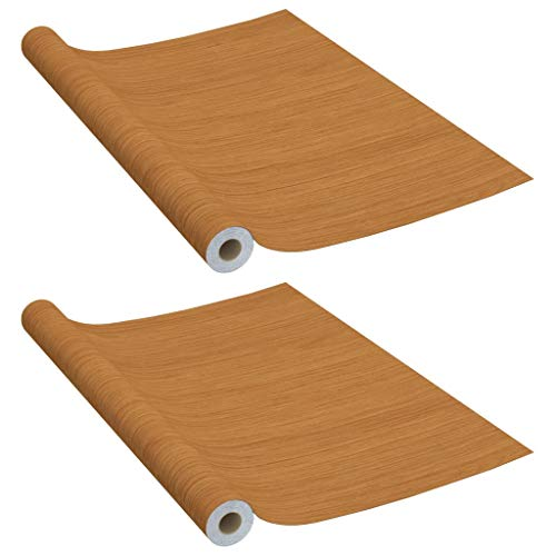vidaXL 2X Láminas Autoadhesivas Puertas Película Adhesiva Decoración de Interior Entrada Forrar Muebles Limpieza Opaco PVC Roble Claro