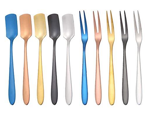 Juego de 10 cucharas de degustación y tenedor, tenedor de frutas de acero inoxidable, cuchara de café, tenedor de comida occidental, tenedor de pastel de postre (5 tenedores + 5 cucharas), 5 colores