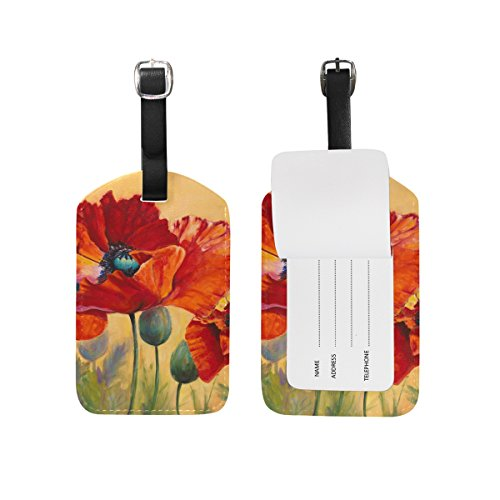 JSTEL Poppy Luggage Tags Suitcase Labels Travel ID Identifier Privacy Cover