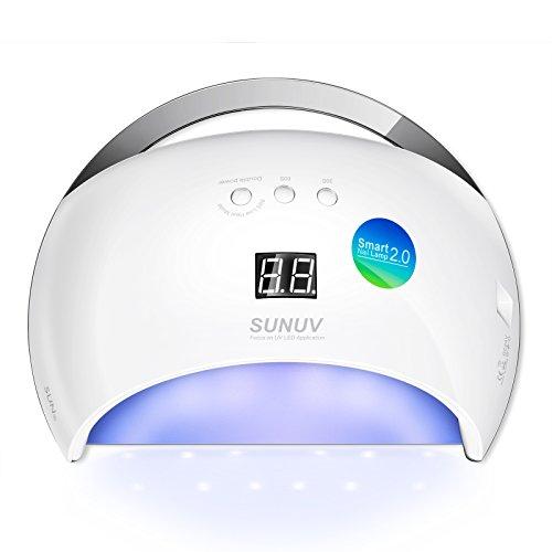 SUNUV SUN6 48W LED UV Luz Lámpara Secadora Portable de Uñas para Esmaltes Basados en Gel de uñas con 3 temporizadores, pantalla LCD, sensor y secado de doble velocidad (Blanco)