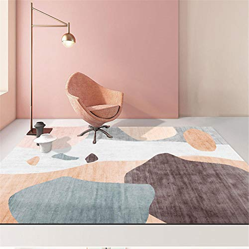Kunsen alfombras Salon Cuadro Salon Grande Habitación Infantil Alfombra Rosa Rectangular Moderno Antideslizante Suave Alfombra Grande Salon 160X230CM 5ft 3' X7ft 6.6'