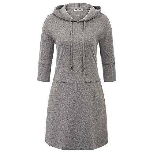 Grace Karin damesjurk 3/4 mouwen katoen elastisch casual pullover herfst tuniek sweatshirt met capuchon