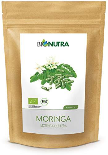 BioNutra® Moringa capsules biologisch 240 x 500 mg, Duitse GMP-productie, 100% puur biologisch Moringa blad poeder (Moringa Oleifera), zonder toevoegingen