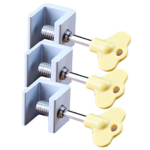 Yyuezhi Diefstalbeveiliging 3-delig schuifvensterslot verstelbaar aluminium deurkozijn veiligheidsslot voor deuren en ramen met veiligheidsslot en sleutels kinderbeveiliging