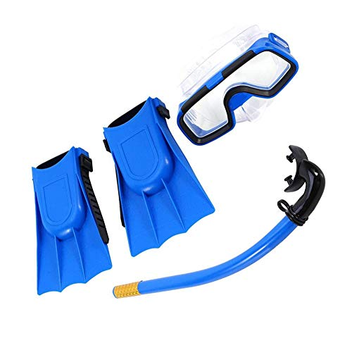 Moligin Kids Snorkel Set Diving Set Swim Goggle Breathing Tube with Flippers for Boys Girls 5-8 Years Old (blue)