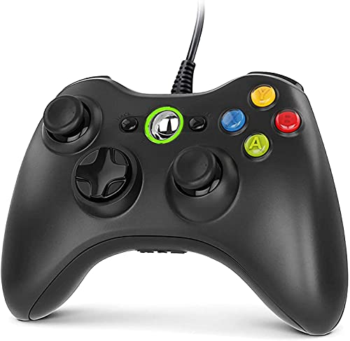 Gezimetie Xbox 360 Game Controller, USB Wired Controller Gamepad di Design Ergonomico Migliorato, Joystick Compatibile per Microsoft Xbox 360/Xbox 360 Slim/PC (Windows 7/8/8.1/10/XP/Vista)
