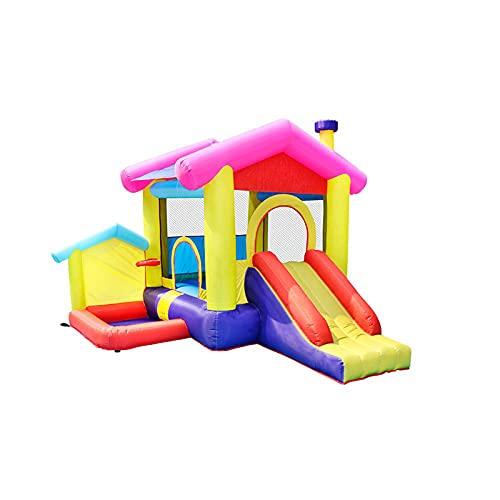 Casa de Rebote Inflable, 125 '' X 112 '' X 96 '' W/Soplador de Aire, Tobogán, Pozo de Bolas, Bolsa de Transporte, para 3-4 Niños Césped, Patio, Interior al Aire Libre