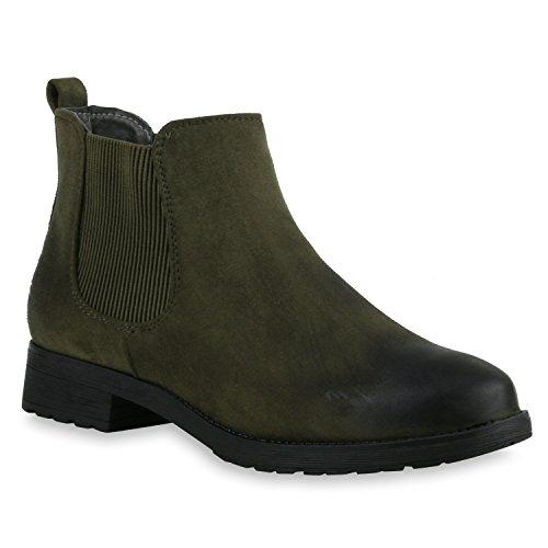 stiefelparadies Damen Stiefeletten Chelsea Boots Gefütterte Ankle Booties Klassische Wildleder-Optik Schuhe Profil 121129 Khaki 40 Flandell