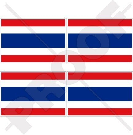 THAILAND Flagge, Fahne Siamesische 50mm Auto & Motorrad Aufkleber, x4 Vinyl Stickers
