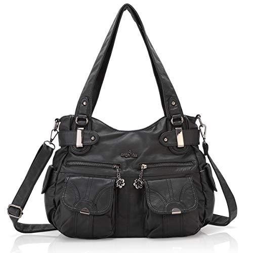 Women Handbags Shoulder Bags Washed Leather Satchel Tote Bag Mutipocket Purse (5739 Black)