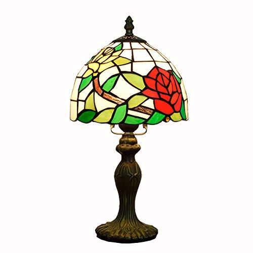 W&HH 8 en la lámpara de Mesa Estilo Tiffany Elegante Rojo Rosa Floral Manchado de la lámpara de Metal lámpara de Mesa de Base para niños Habitación Dormitorio Dormitorio Luz de Escritorio