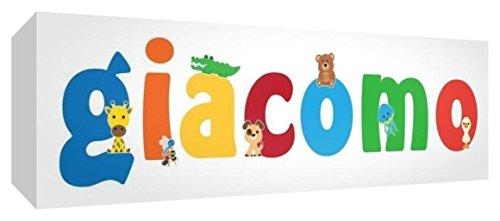 Little Helper LHV-GIACOMO-2159-15IT Toile pour Nursery avec panneau frontal, motif personnalisable avec nom des garçons jamacomo, multicolore, 21 x 59 x 4 cm