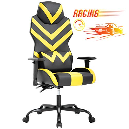 BMS Computer PU Leather High Back Racing Lumbar Support Adjustable Armrest Swivel Rolling Ergonomic Desk Chairs Design for Adults, Yellow chair gaming