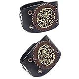 SPARKX Bracelet en Cuir Large pour Hommes, Courroie Large du Coureur De Moto Punk Rock, Bracelet en Cuir Totem Vintage, Réglable (2 PCS),Noir,24.5 cm