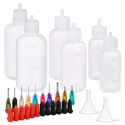 BENECREAT 12 Pack 30/50/100ml Botellas de Pegamento de Plástico con Agujas de Punta Roma (10 Tamaños), Tapones de Botella y Embudo para Dispensar Aceite, Pegamento Líquido y Tinta
