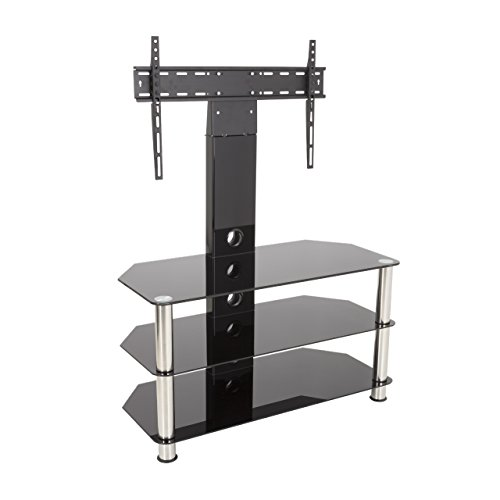 King Upright Cantilever TV Stand with Bracket Black Glass Shelves 90cm from 32