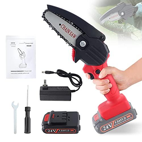Snowtaros 4 Pollici Mini Motosega a Batteria, 24V Mini Motosega Elettrica con Caricatore e 1 Batterie, per Taglio del Legno e Giardinaggio