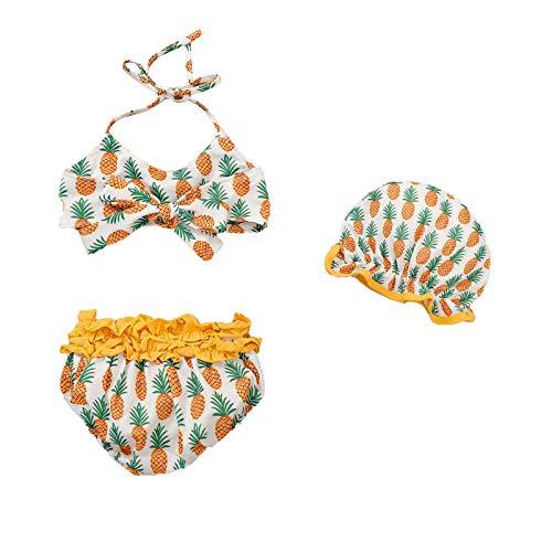 Conjunto de 3 piezas para bebé de baño sin mangas Halter Crop Top pantalones de natación gorro de playa bikini Set 0 – 24 meses Summer Girl