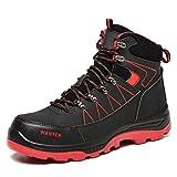 COOU Zapatillas de Seguridad Hombre Ligeras Comodas Zapatillas de Trabajo con Punta de Acero Antideslizantes Botas de Seguridad Mujer Calzado de Industrial y Deportiva 608/Black Red 43