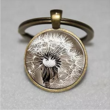 Pusteblume Schlüsselanhänger, Glas-Art Blume Schlüsselanhänger, schwarz Glas weiß Schlüsselanhänger