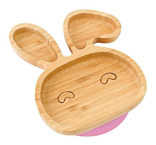 WSHFHDLC Cuenco de la Cultura Popular Bebé complemento alimenticio Placa de bambú orgánico con un tazón de Silicona de Silicona Cuchara lechón Lindo Conejito niño Cuenco de la Cultura Popular