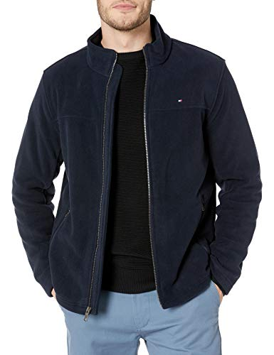 Tommy Hilfiger Men's Classic Zip Front Polar Fleece Jacket, Navy, XL