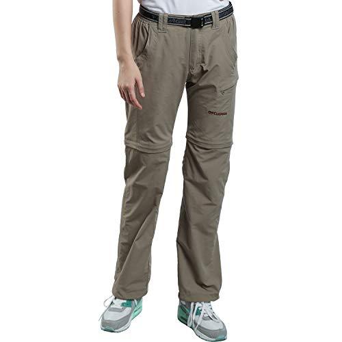 FLYGAGA Damen Outdoorhose Wanderhose Zip Off Hose Shorts Sommer mit Gürtel Leichte Schnelltrocknend Atmungsaktiv FunktionshoseTrekkinghose (Khaki, XL)
