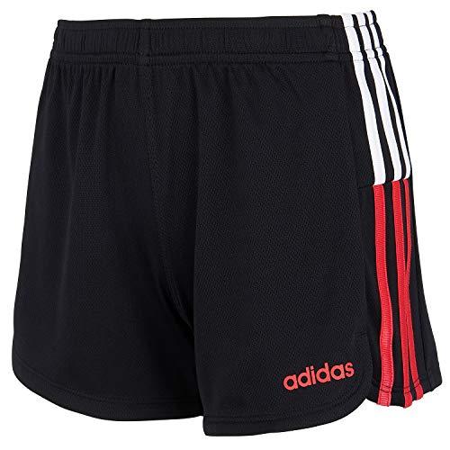 addias Girls' Toddler Active Sports Athletic Shorts, Clashing Stripe Black, 3T