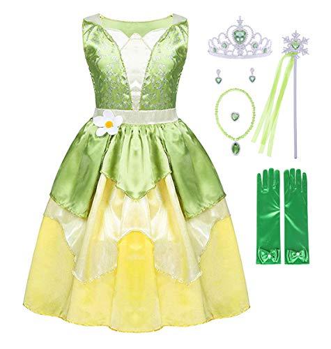 AmzBarley Vestito Principessa Tiana Bambina Costume Festa Compleanno Carnevale Cosplay Ragazza Abito Sera Cerimonia Vestiti Abiti, Verde+037, 6-7 Anni
