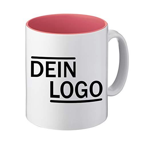 Foto Premio Werbetasse mit Logo | Kaffeetassen mit Logo Bedrucken, Tasse mit Logo in Kleiner Auflage günstig bestellen, Spülmaschinen- und Mikrowellenfest, 300ml Füllmenge (Rosa, Standard)