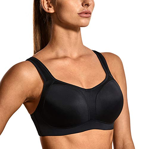 SYROKAN Women's High Impact Firm Support Contour Padded Underwire Adjustable Sports Bra Black 38DD