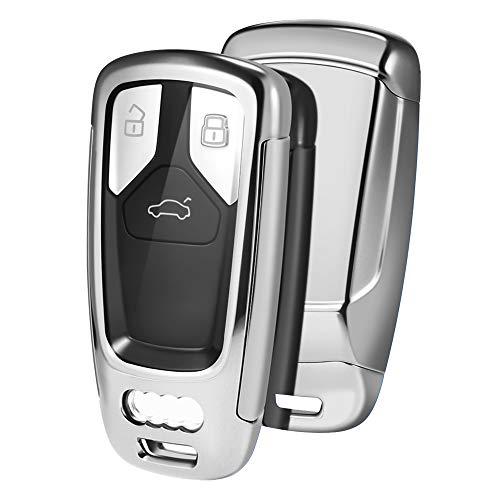 OATSBASF Funda para Llave Audi, Compatible Con Audi A4L A6L A8 Q5 Q7 TTS TT,Funda para Llave de Asiento con 3 Botones, Caja de TPU para Llaves(Plata)