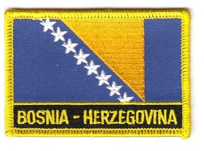FahnenMax® Flaggen Aufnäher Patch Bosnien Herzegowina Schrift NEU