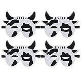 WINOMO 4 máscaras decorativas de rendimiento para padres - Campaña infantil, telas no tejidas, animales de dibujos animados de vaca para niños y niños