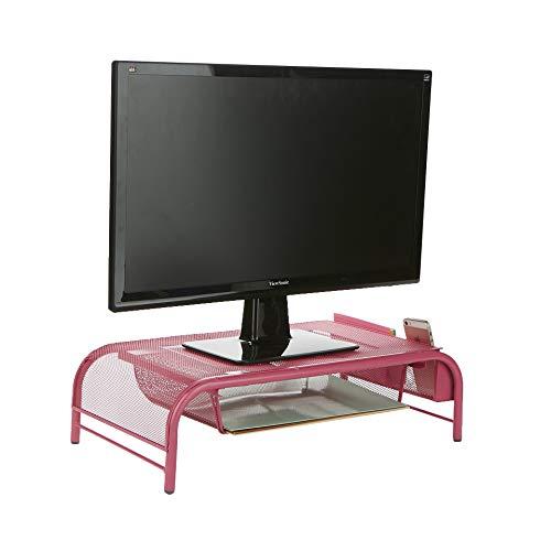 Mind Reader MESHMONSTA-PNK Metal Mesh Desk Drawer, Desktop Monitor Stand Organizer, Pink