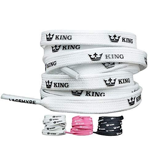 LaceHype® | Sneaker Schnürsenkel King oder Queen in Schwarz/Weiß/Pink geeignet für Adidas Ultra Boost, NMD und Nike Air Max 2 Sportschuhe | Länge 120CM/95CM/80CM | 1 Paar Laces (80 cm, A/White)