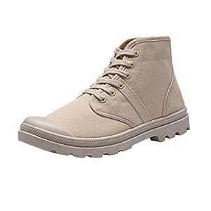 YWLINK Zapatos De Lona con Cordones Altos para Hombres Casual Zapatos De Senderismo Antideslizantes CláSicos De Students Corriendo Viajes Fiesta CóModo Transpirable Botines De Hombre(Beige,37EU)