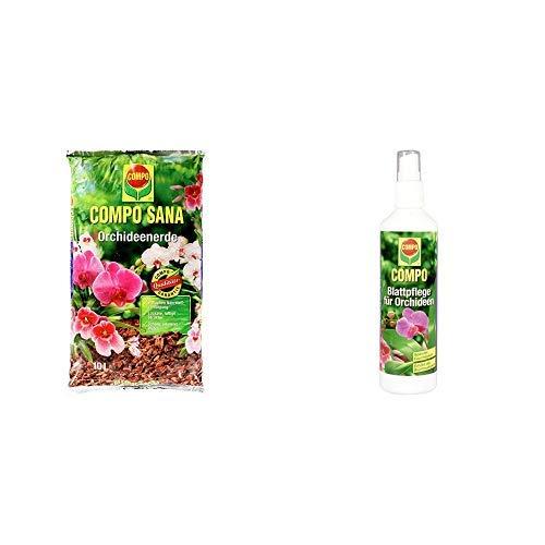COMPO SANA Orchideenerde mit 8 Wochen Dünger für alle Orchideenarten, Kultursubstrat aus Pinienrinde, 10 Liter & Blattpflege für alle Orchideenarten, Sprühflasche, 250 ml
