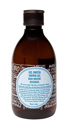ricaricando, erfrischendes BIO Duschgel mit nativem Bio Olivenöl und natürlichem Fenchel- und Zitronenöl, zertifizierte Naturkosmetik, ohne Silikone, ohne Parabene, ohne EDTA, vegan, 300 ml